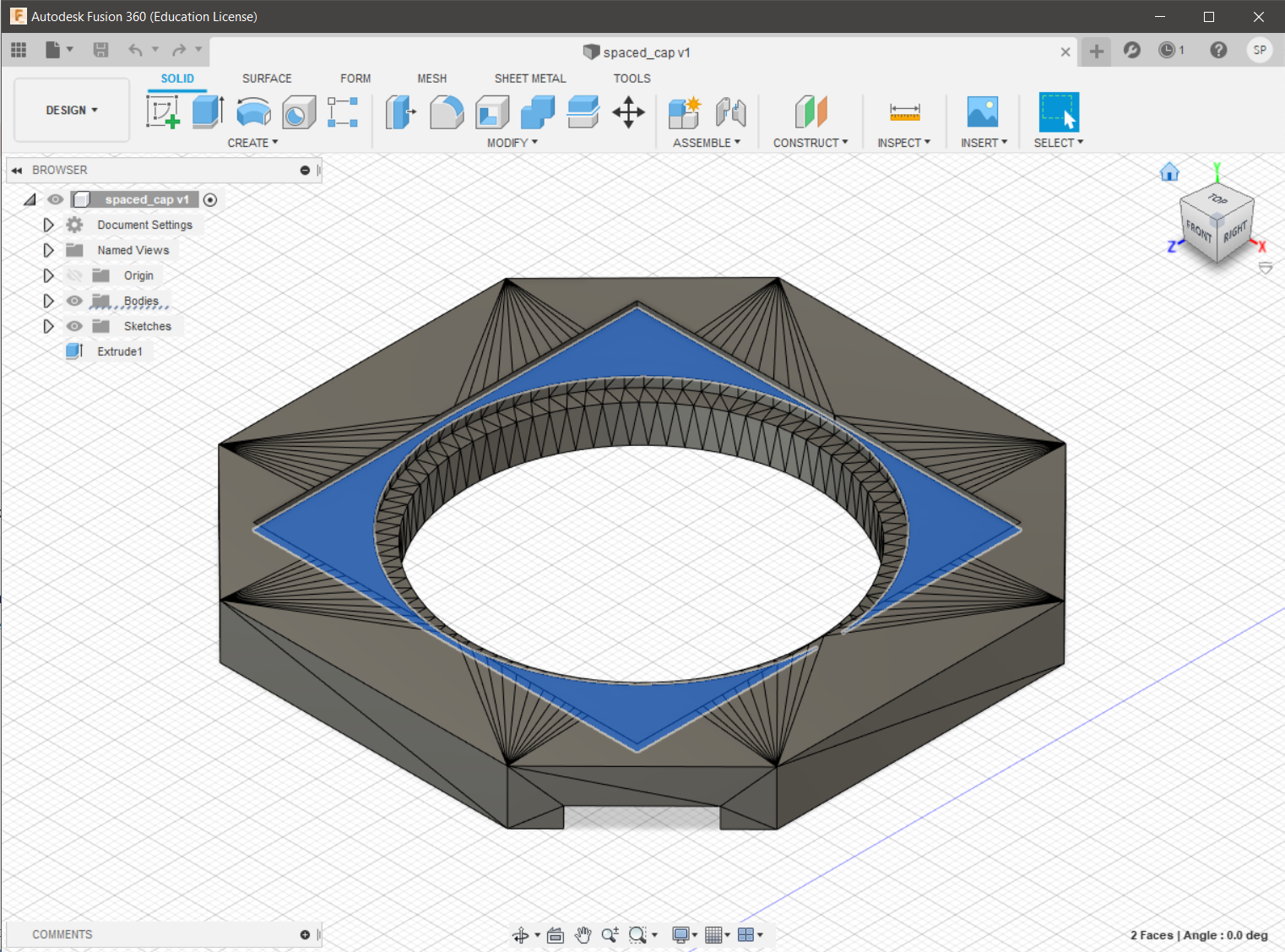 The first, simplest change in Fusion360. A great tool for designing but it isn't suited to edit complex meshes