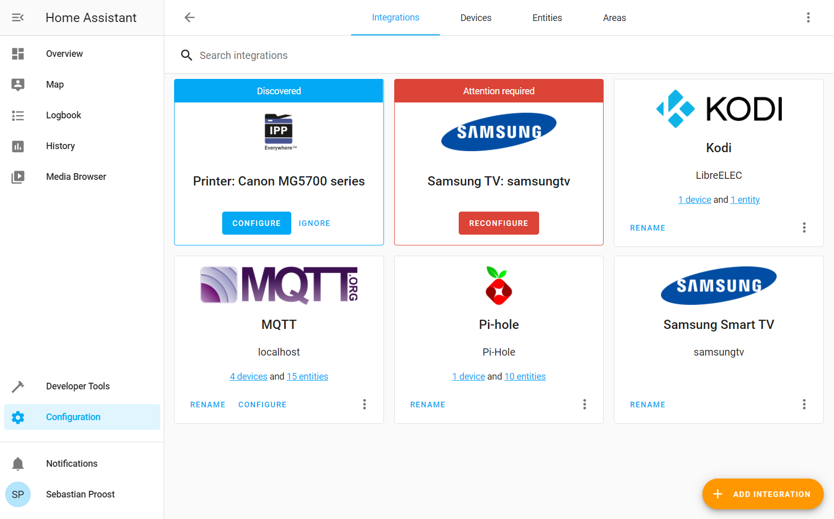 Integrations page shows that there are now 4 MQTT devices available, two from the previous post and two new ones